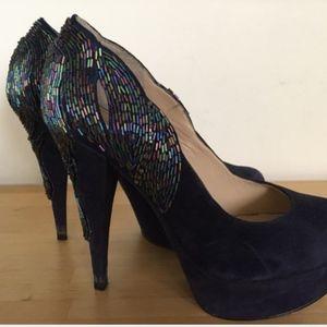 Enzo Angiolini Navy Velvet Heels