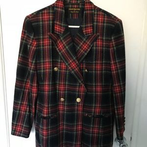 Vintage Plaid 100% Pure Wool Blazer-Red Black Gold