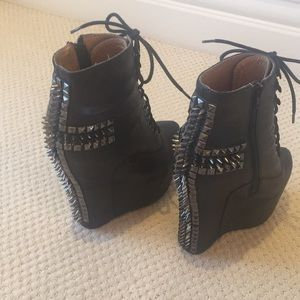Jeffrey Campbell Black Leather/ studded Boot