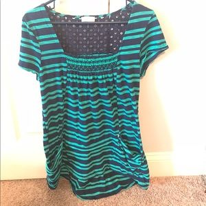 Anthropologie Blue/Green Striped Top