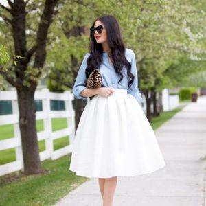New Rachel Parcell Classic Full Skirt in white