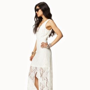 Cream Lace Maxi Dress