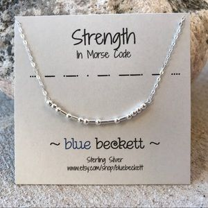 Strength in Morse Code - Sterling Silver Necklace