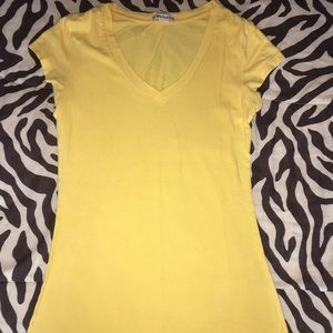 Forever 21 Yellow Short-Sleeve V-Neck Shirt