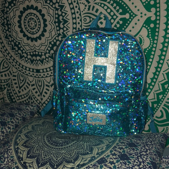 Justice sparkle bling full size backpack SOLD OUT SILVER PANDA back to school 2017
