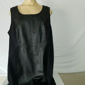 EUC Faux Leather and Stretchy Black Dress