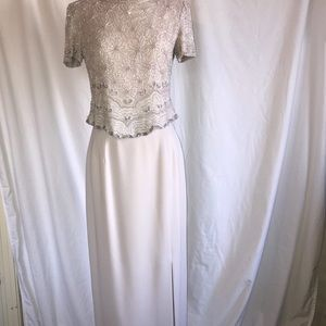 Adrianna Papell two piece evening dress Champagne