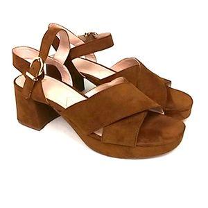 ZARA Trafaluc Sz 10/41 Brown Synthetic Chunky Heel
