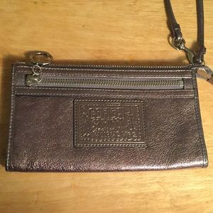 Coach Poppy Silver Patent Leather Wristlet