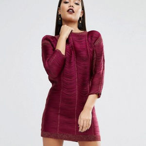 ASOS Raspberry Fringe Mini Dress