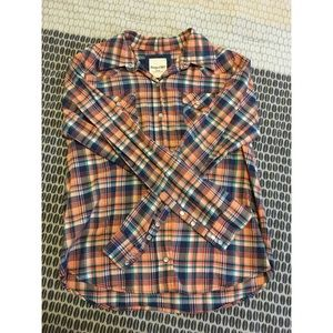 Forever 21 Orange Flannel Button-Up Shirt