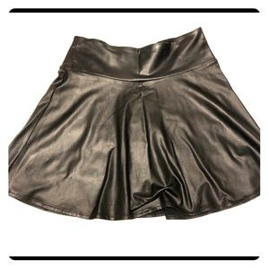 Black faux leather flare skirt