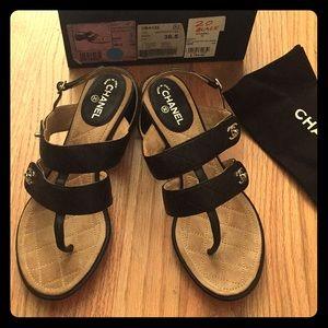 Chanel black leather sandal