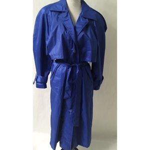 Vintage Blue Trench Coat Size 12