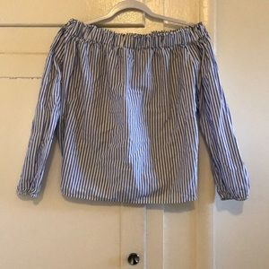 White with blue stripes off the shoulder shirt