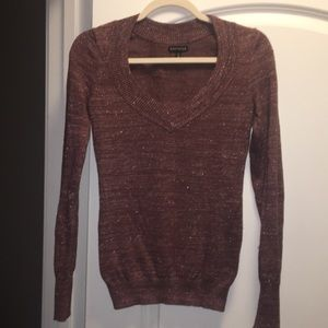 Express XS copper & dark purple sweater
