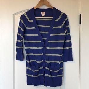 Mossimo 3/4 Length Sleeve Striped Cardigan, Small