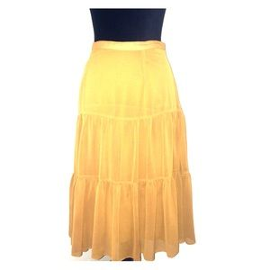 NICOLE MILLER COLLECTION Mustard/Gold Tiered Skirt