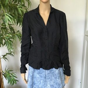 Ann Taylor Polka Dots Blouse Button Down size M