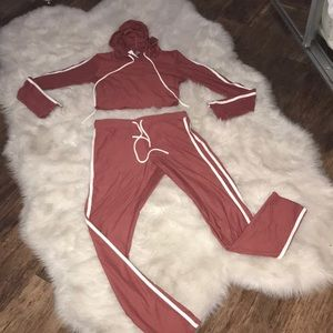 NWT faux suede feel track suit