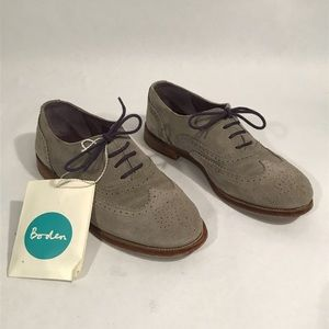 Boden 7 Broque Oxford Grey Suede Leather Flats