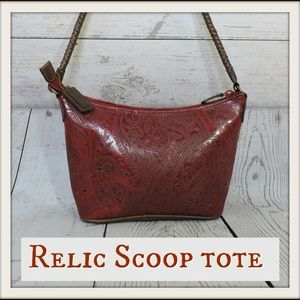 Embossed RELIC Scoop Tote Braided Strap