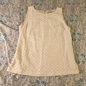 Loft Cream Lace Knit Overlay Tank Top blouse