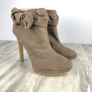 Justfab Platform Ankle Booties with Bows