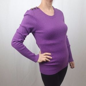 J. CREW PURPLE SWEATER WITH BUTTON DETAIL