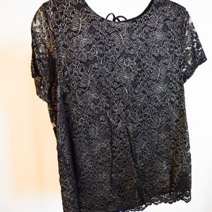 Tunic Lace and Floral Printed Top