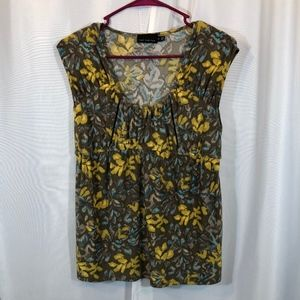 The Limited Taupe Yellow Flowy Tank Top, Size M