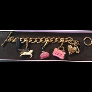 Juicy Couture charm bracelet with 3 charms in box