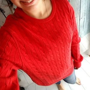 GAP bright red cable-knit sweater