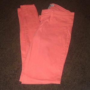 Denim - Coral skinny jeans