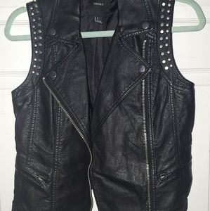 Forever21 Faux Leather Moto Vest