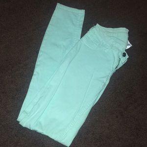 Denim - Mint green skinny jeans