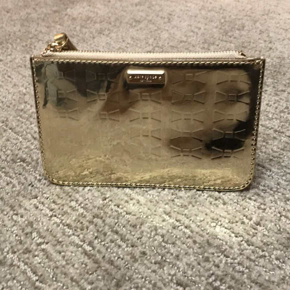kate spade Handbags - Authentic Kate Spade Embossed Gold Wristlet