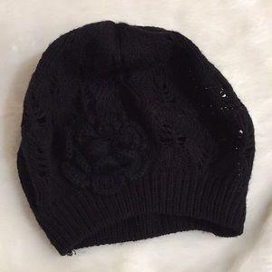 Black Knit beanie with flower