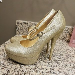Gold glitter heels with strap