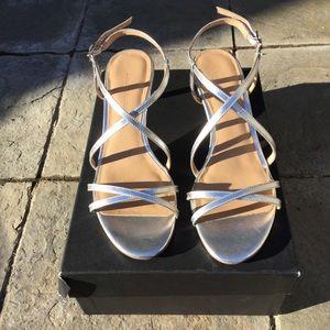 NWT Banana Republic Silver Crossover Heel Sandal