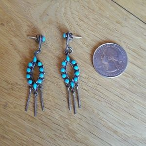 Zuni Vintage Hand Crafted Turqoise Earrings