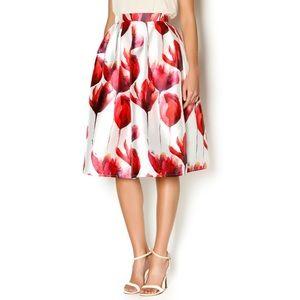 L'Atiste Tulip Floral Print Midi Skate Skirt