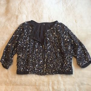 Charcoal sequin Crop Jacket