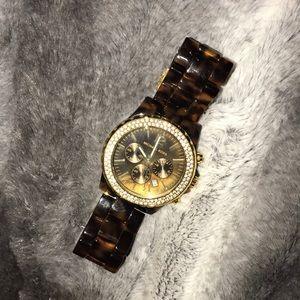 MK Gold/Tortoise Brown Watch