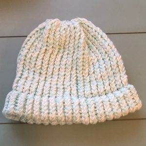 Handmade Knitted Mint/Wht Stocking Cap Teen Size