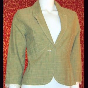 TRUE MEANING khaki plaid cotton blazer jacket 0