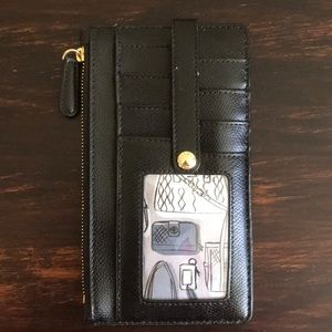 Vera Bradley Black Wildwood Leather Card Case