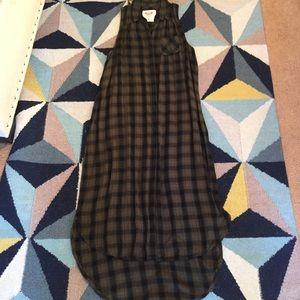 Green racerback long flannel dress size S