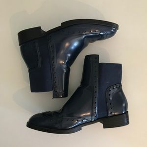 ZARA BROGUE ANKLE CHELSEA BOOTS BLUE