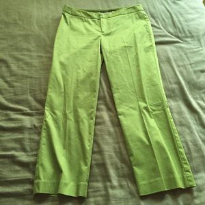 Green cropped ankle slacks